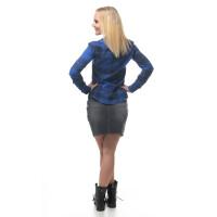 Damen Flanell Hemd langarm kariert Blau/Schwarz