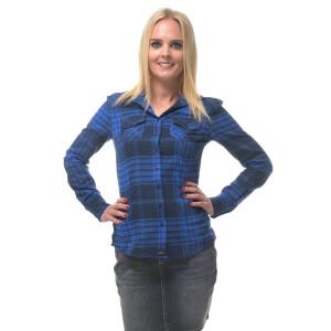 Damen Flanell Hemd langarm kariert Blau/Schwarz Small...