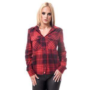 Damen Flanell Hemd langarm kariert Rot/Schwarz Large...