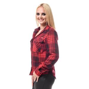 Damen Flanell Hemd langarm kariert Rot/Schwarz X-Large...