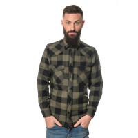 Herren checkered Flanell Hemd langarm