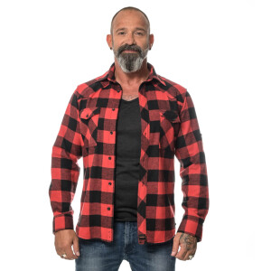 Herren checkered Flanell Hemd langarm Medium Black/Red