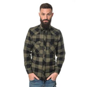 Herren checkered Flanell Hemd langarm Medium Black/olive