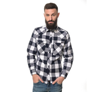 Herren checkered Flanell Hemd langarm Medium Blue/white