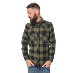 Herren checkered Flanell Hemd langarm XX-Large Schwarz/Olive