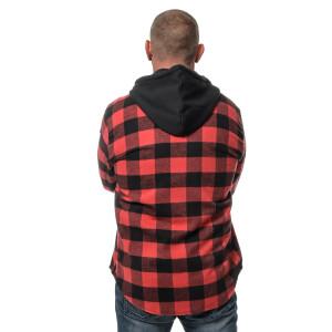 Herren checkered langarm Flanell Hemd mit Kapuze