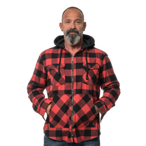 Herren checkered langarm Flanell Hemd mit Kapuze Large...