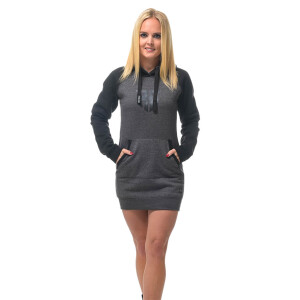 Hooded raglan Sweater Kleid Schwarz/Grau S