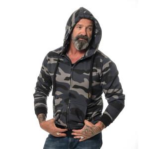 Camouflage zipped Hoodie L Grau/Schwarz