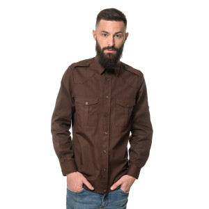 Men`s Workershirt langarm Small Braun
