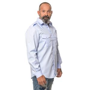 Men`s Workershirt langarm 4X-Large Hellblau