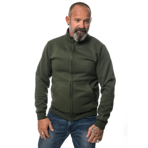 Heavy zipped Sweater L Emaille Grün
