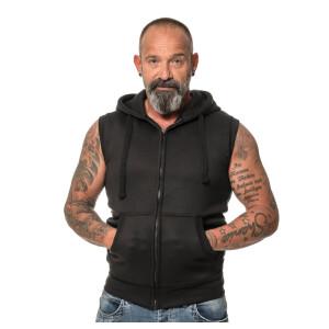 Heavy zipped hoodie sleeveless