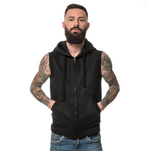 Heavy zipped Hoodie sleeveless 3XL Schwarz