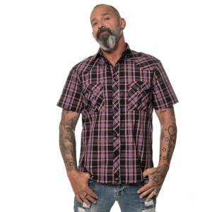 Kariertes Herren kurzarm Hemd Schwarz Large