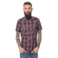 Men`s checked shortsleeve Shirt Black 3X-Large