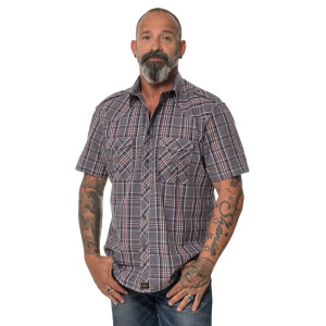Men`s checked shortsleeve Shirt Charcoal Small